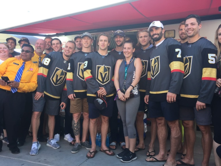 Vegas Golden Knights With Vegas Shooting Survivor Courtney Oldenburg